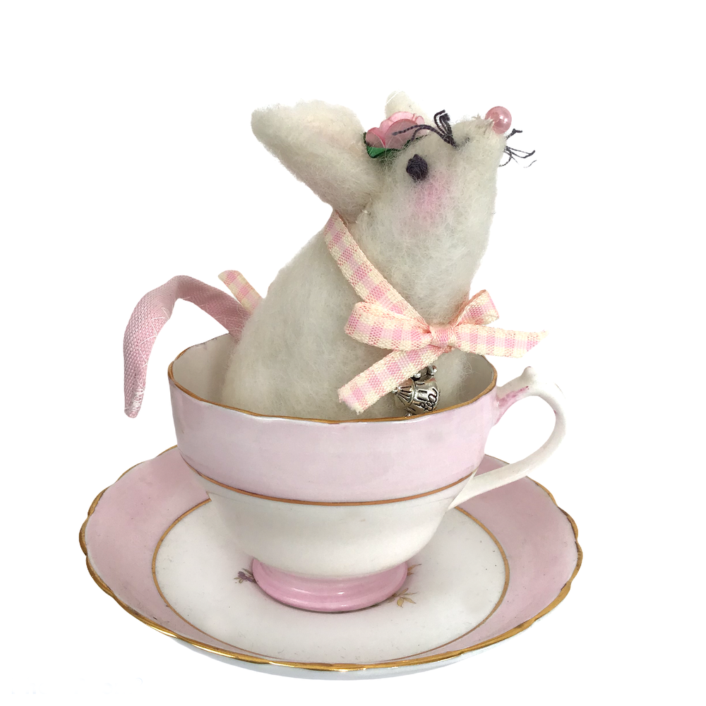 Image of Handmade Wool Felt Tea Mouse