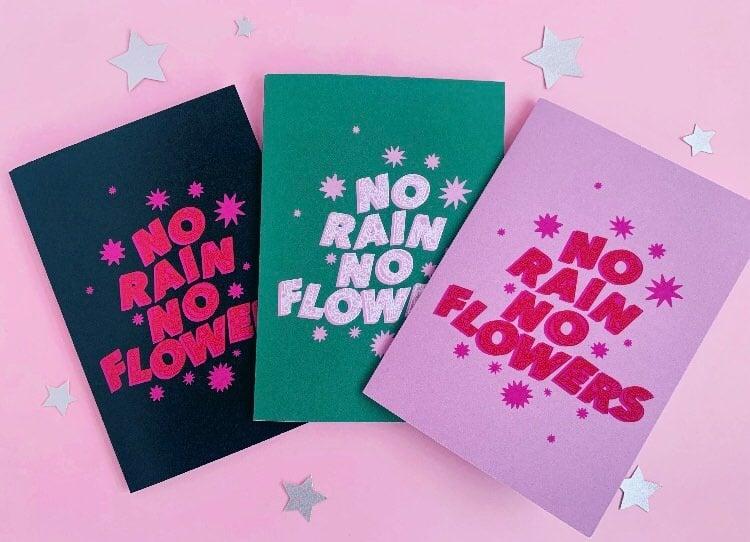 Image of 'No Rain No Flowers'  three card pack 🌧�🌻