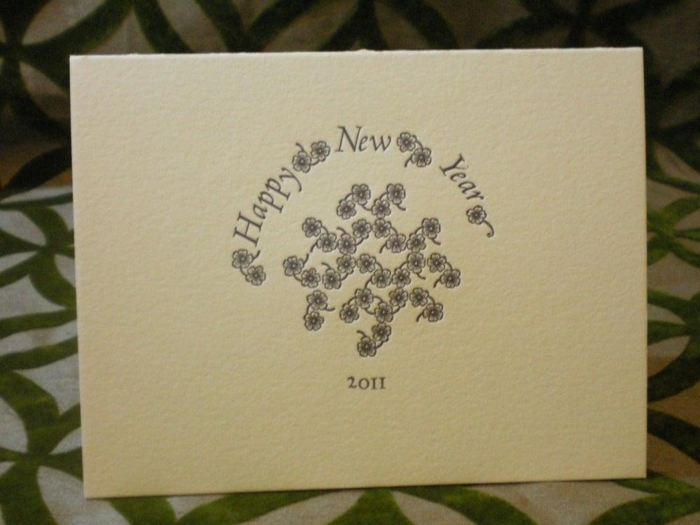 happy new year letterpress card