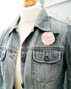 Image of Textured Rose Brooch or Key Ring and Card