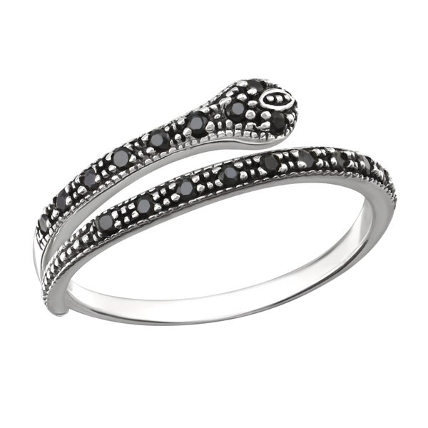Image of Black snake wrap ring (sterling silver)