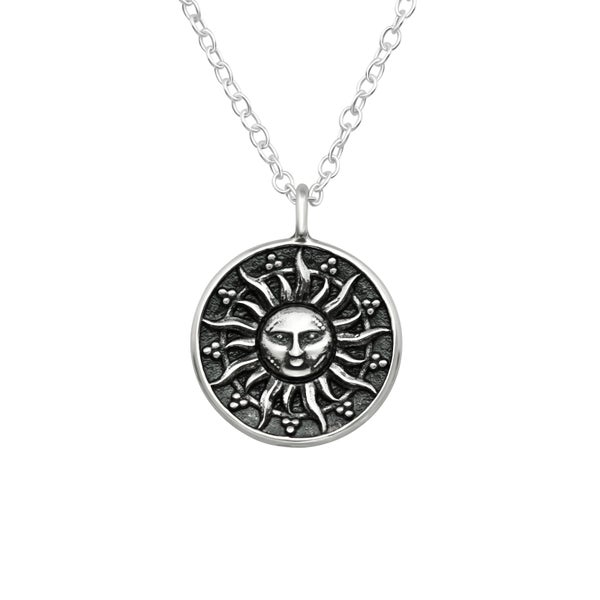 Image of Sun Medallion Sterling Silver Pendant Necklace