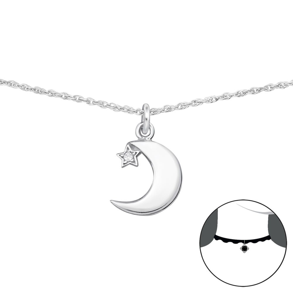 Image of Moon and Crystal Star Sterling silver choker