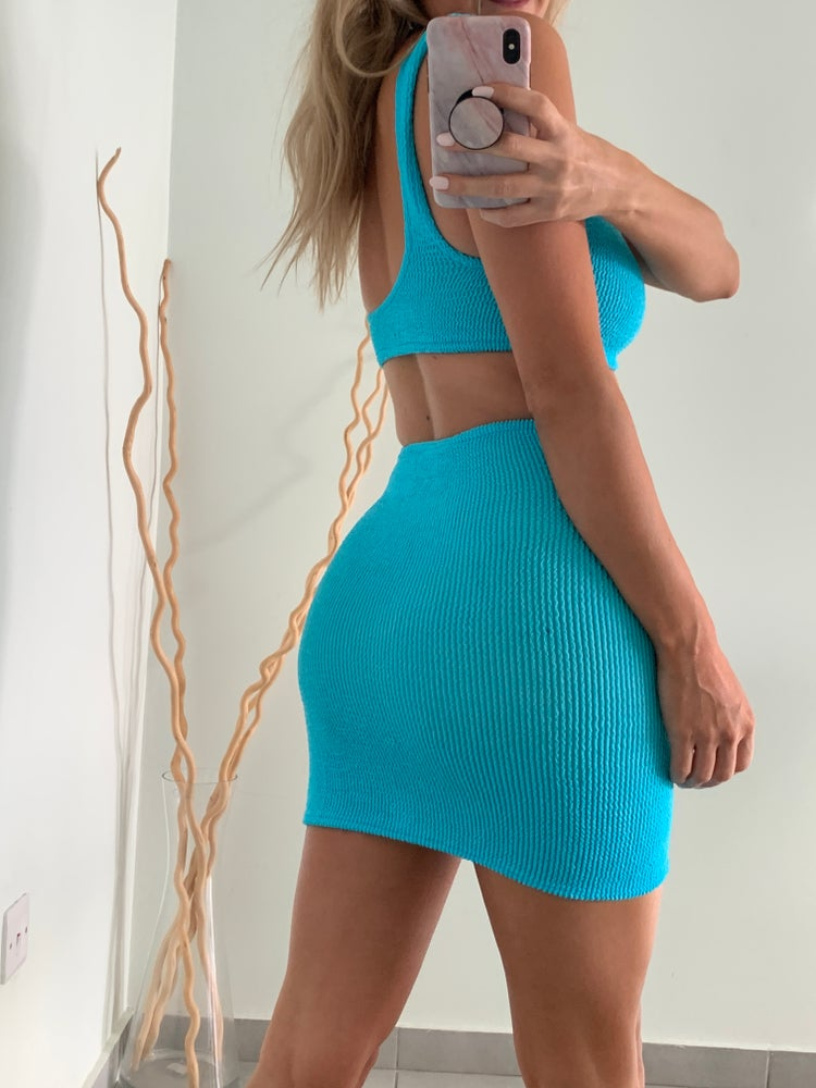 Image of Neon Blue Mini Crop Skirt or Shorts Co-Ord