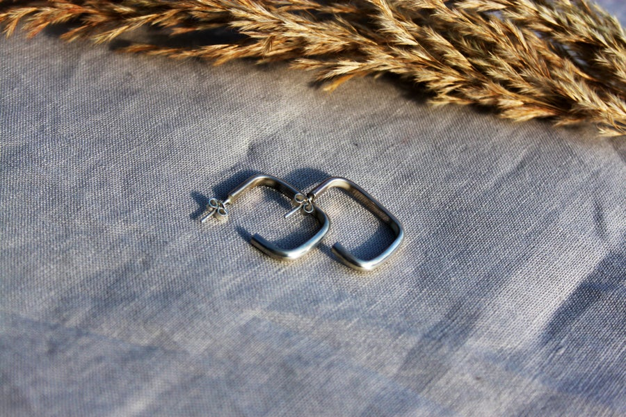 Image of Rectangle Chunky Eco Friendly Sterling Silver 925 Earring Hoops