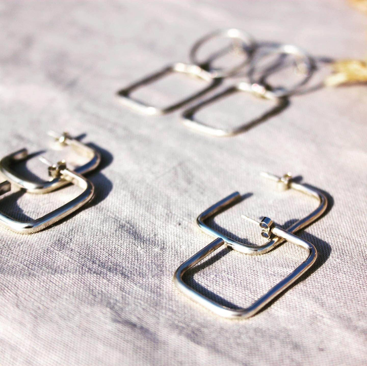 Image of Rectangle Eco Friendly Sterling Silver 925 Hoop Earrings