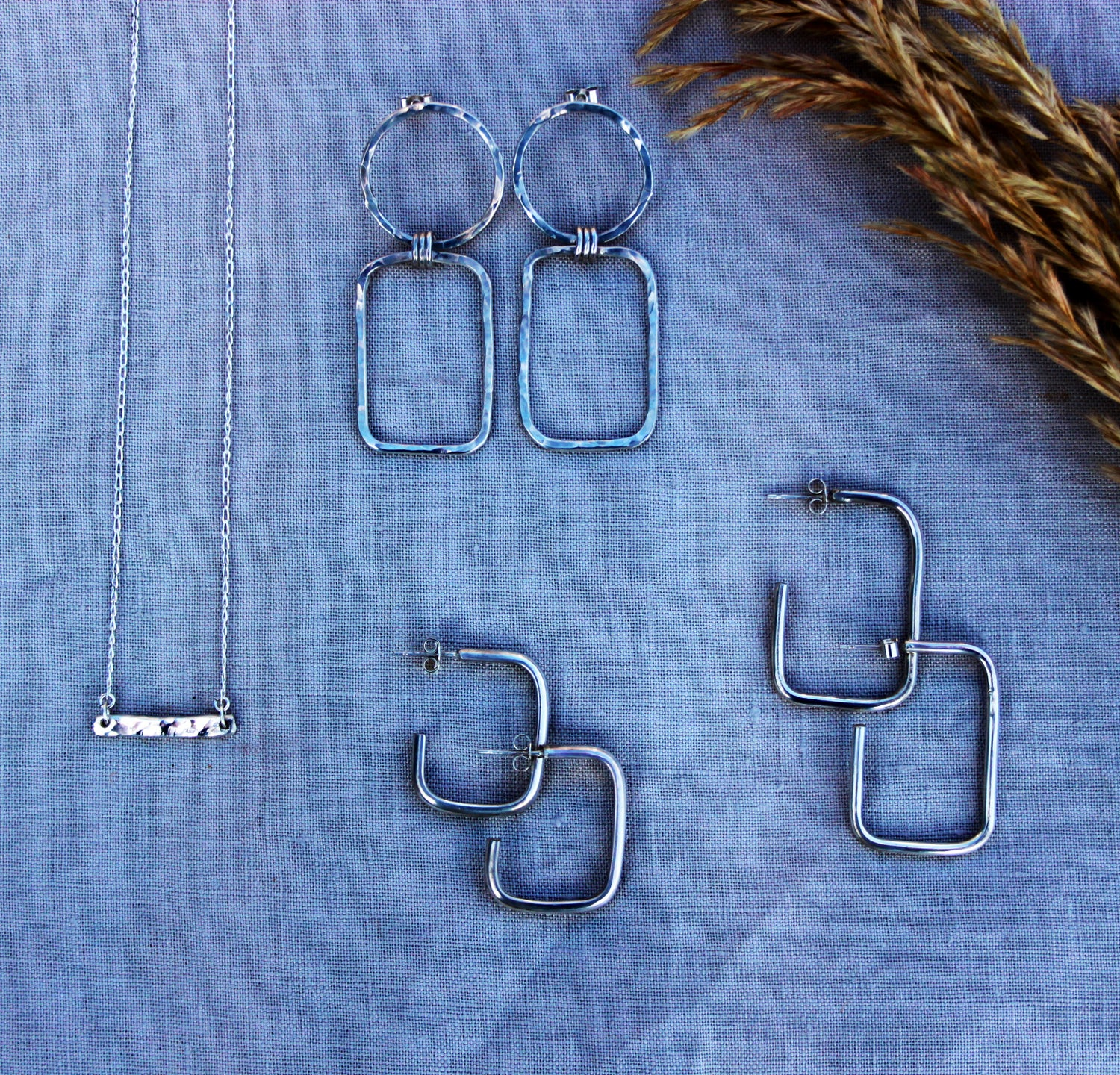 Image of Rectangle T-Bar Eco Friendly Sterling Silver 925 necklace