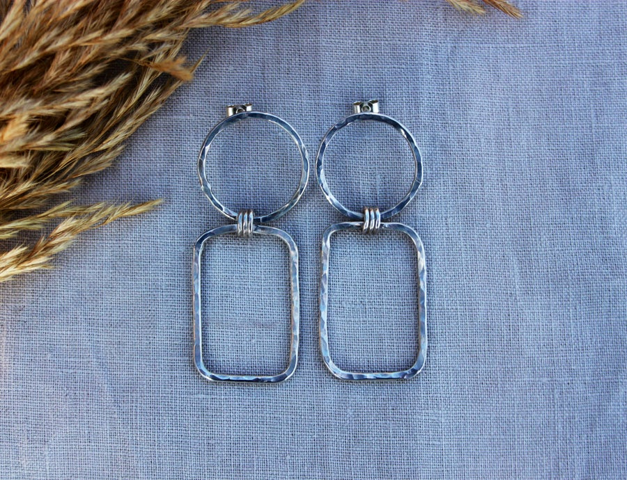 Image of  Sterling Silver 925 Eco Friendly Textured Circle Rectangle Earrings