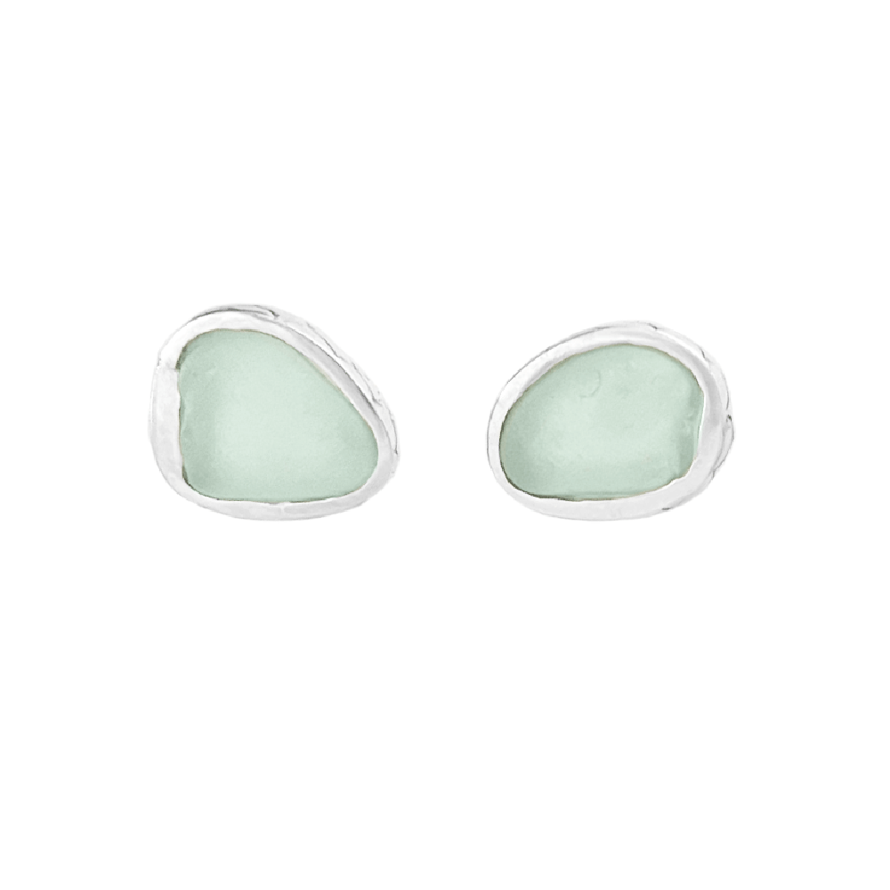 Image of Mermaid Scale Sea Glass Earrings - Seafoam Green