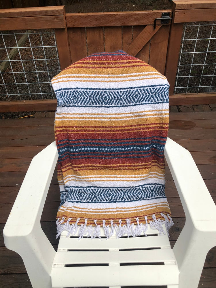 Image of Yarrow/Rust/Blue (Southwest Sunset) Baja Blanket