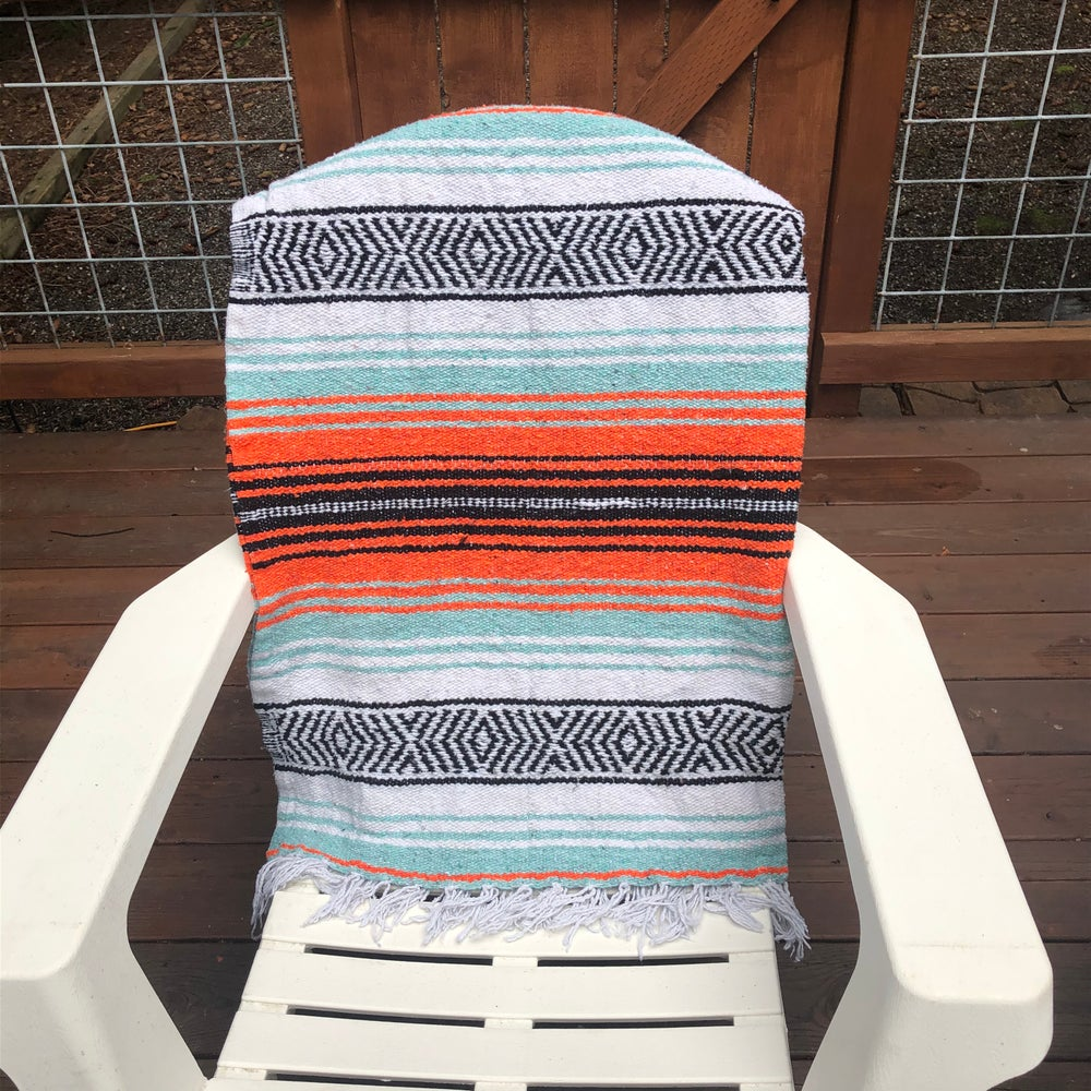 Image of Coral/Mint/White Baja Blanket