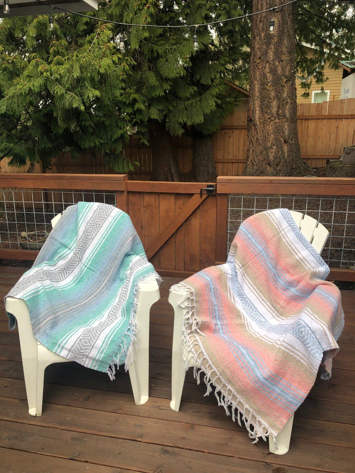 Image of Peach/Light Blue/Tan Baja Blanket