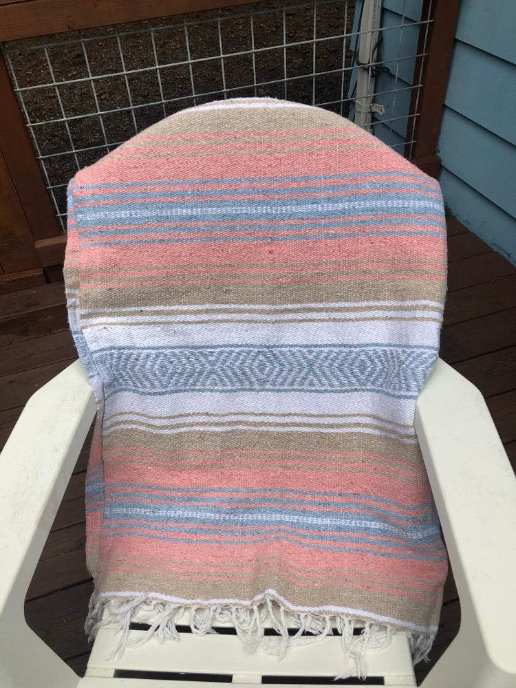 Image of Peach/Light Blue/Tan Baja Blanket