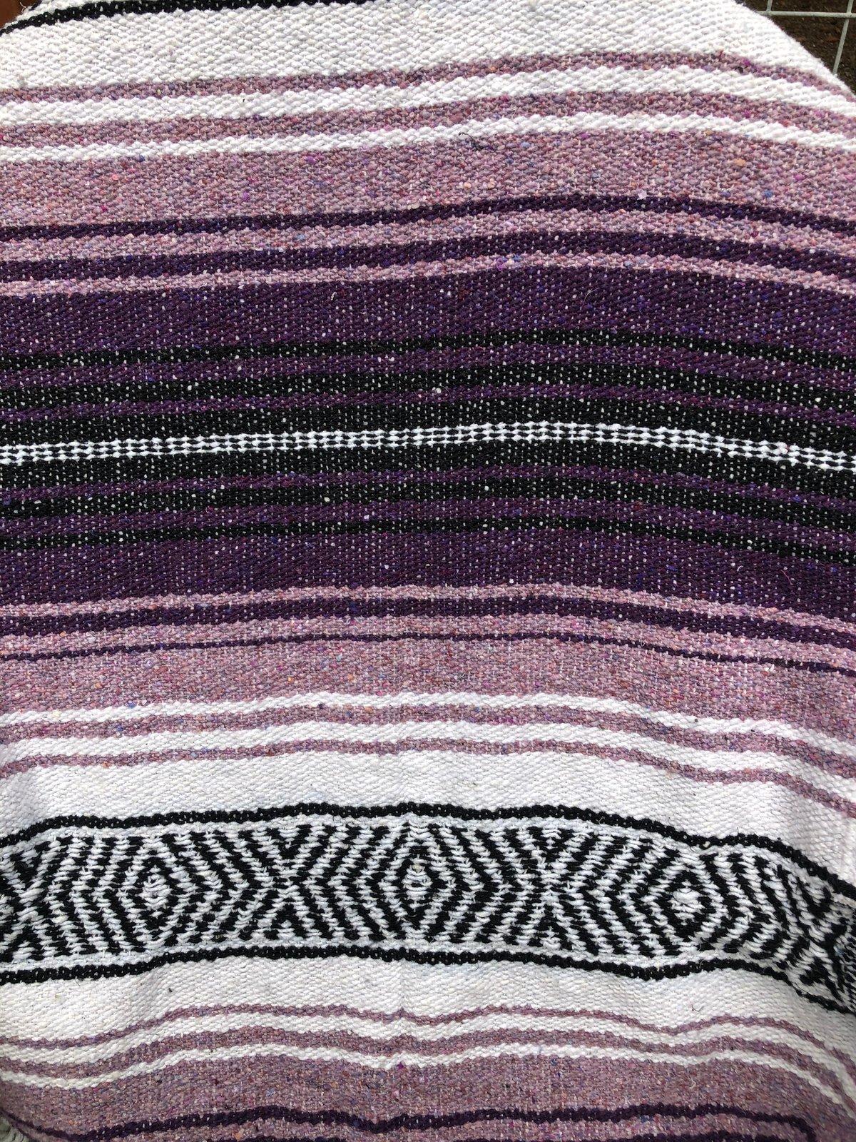 Image of Light Purple/Dark Purple/White Baja Blanket
