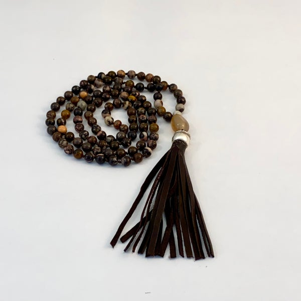 Image of Earth Star Brown Agate Mala