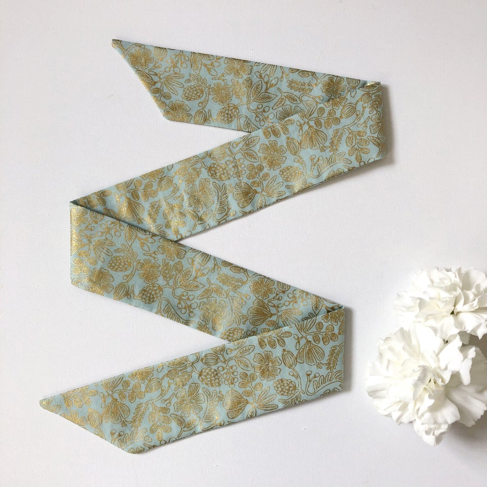 Image of Hair Ribbon - Mint & Gold Floral