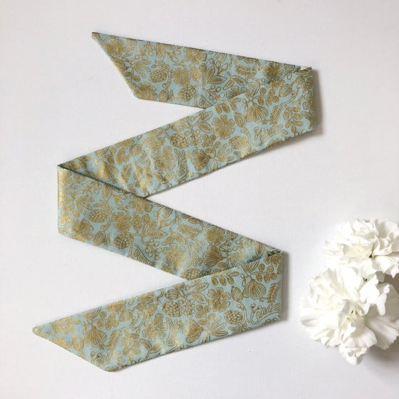Image of NEW! Hair Ribbon - Mint & Gold Floral