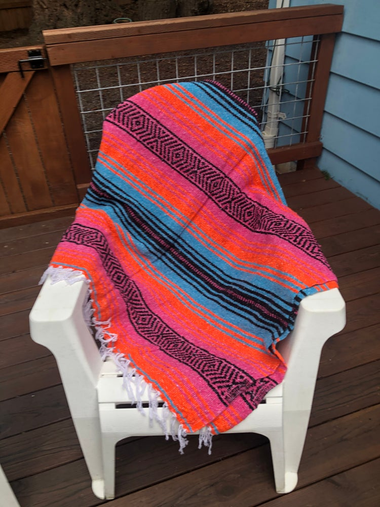 Image of Hot Pink/Turquoise/Orange Baja Blanket