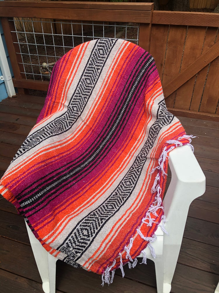 Image of Fuchsia/Tan/Orange Baja Blanket