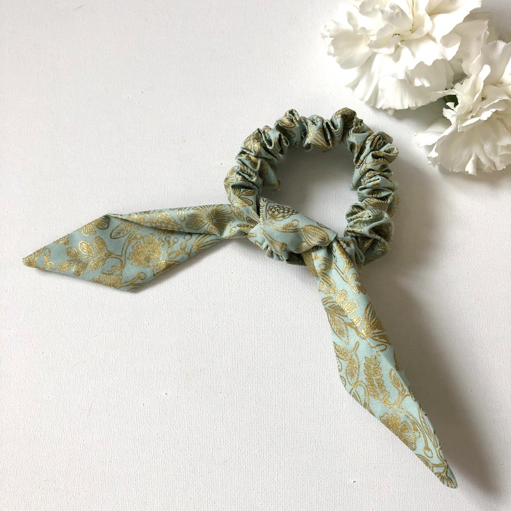 Image of NEW! Bow Scrunchie - Mint & Gold Floral