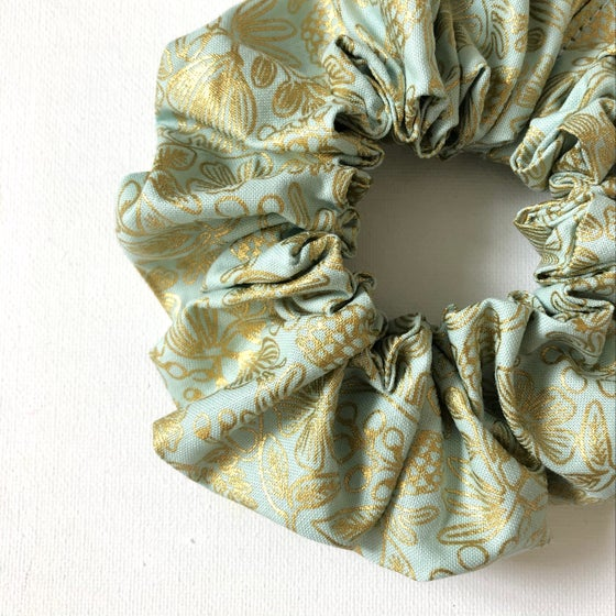 Image of NEW! Fluffy Scrunchie - Mint & Gold Floral