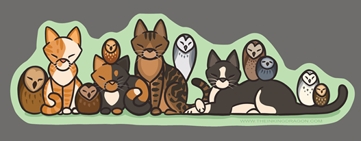 Image of Cats and Owls - (2 Stickers)