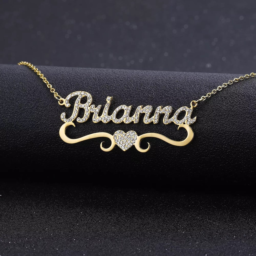 Image of Personalised iced out necklace with heart shape
