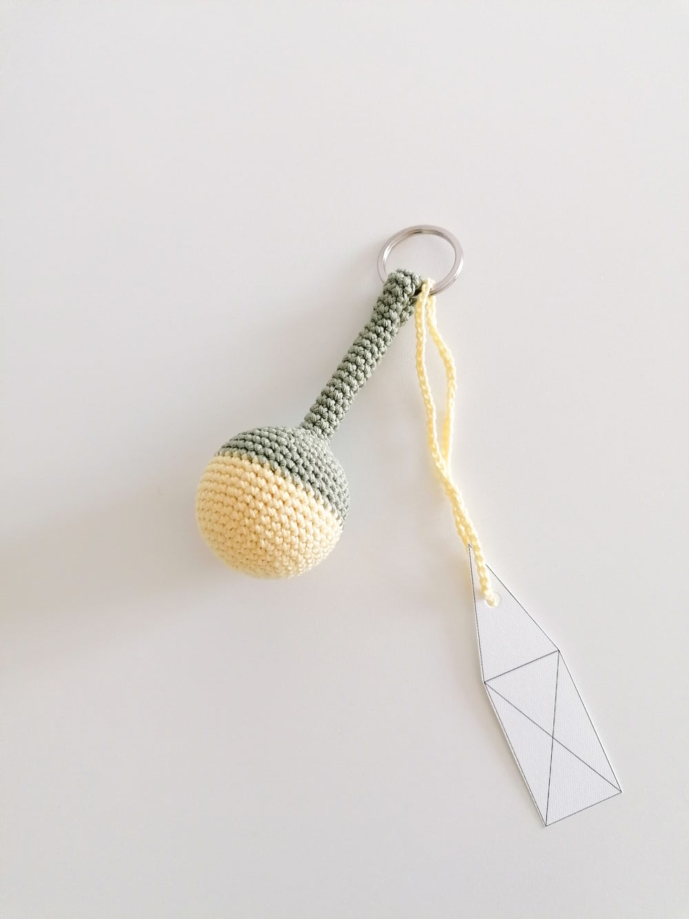 Image of Big Ball Keychain in Light Olive Green and Yellow