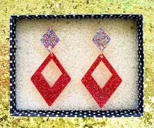 Image of Glamour Gal Glitter Earrings - Red Confetti
