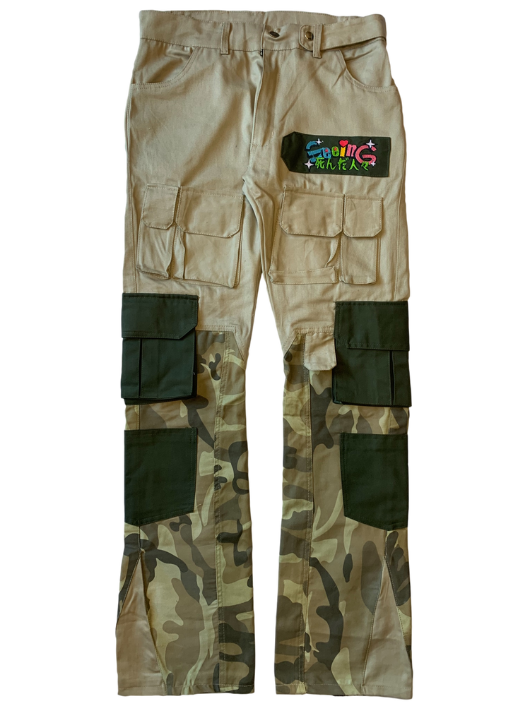 Image of KHAKI BATTLE READY CAMOFLAUGE FLARED PANTS