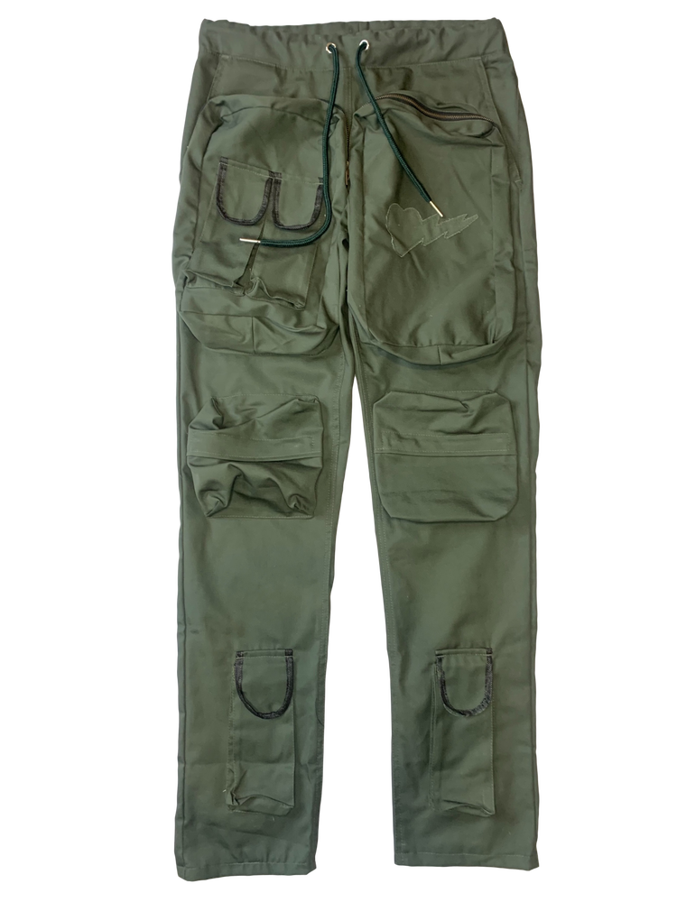 Image of OLIVE GREEN WAR MONGREL CARGO PANTS