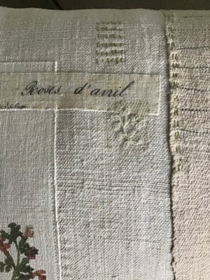 Image of Hand printed linen Rose cushion