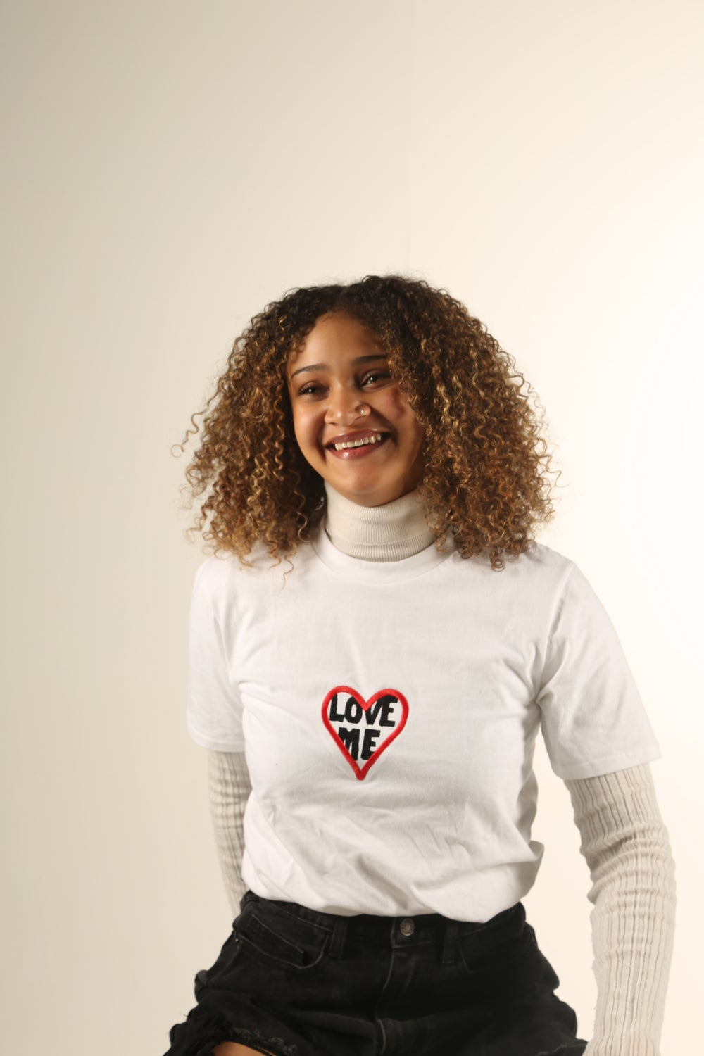 Image of LOVE ME Embroidered Heart T-Shirt in WHITE