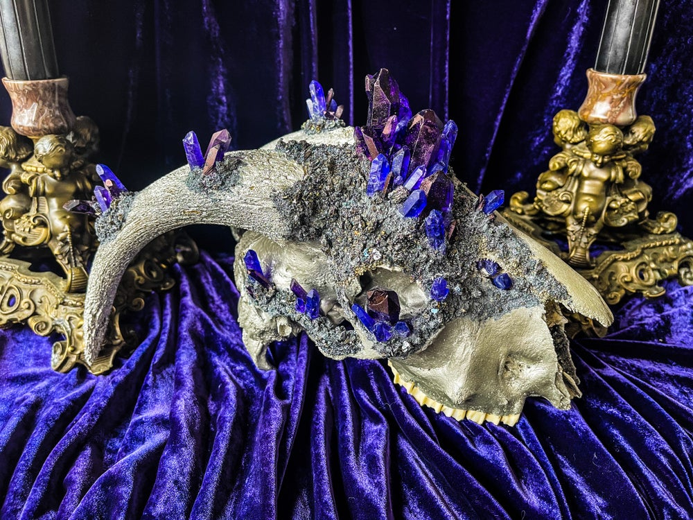 Image of Purple/Blue Quartz & Carborundum - Goat Skull