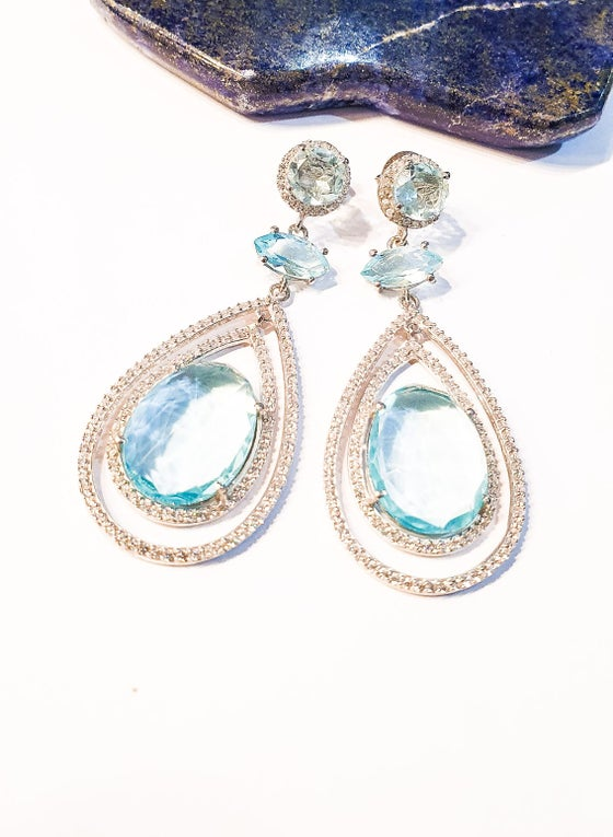 Image of 925 Silver and Blue Topaz Statement Earrings