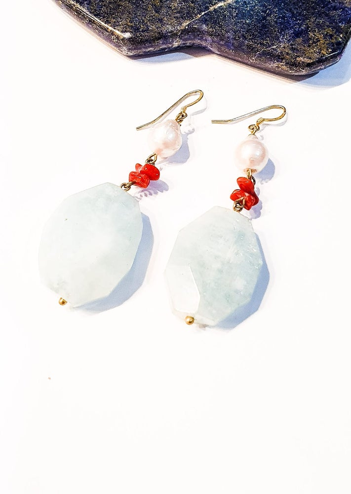 Image of Aquamarine, Coral and Freshwater Pearl Earrings