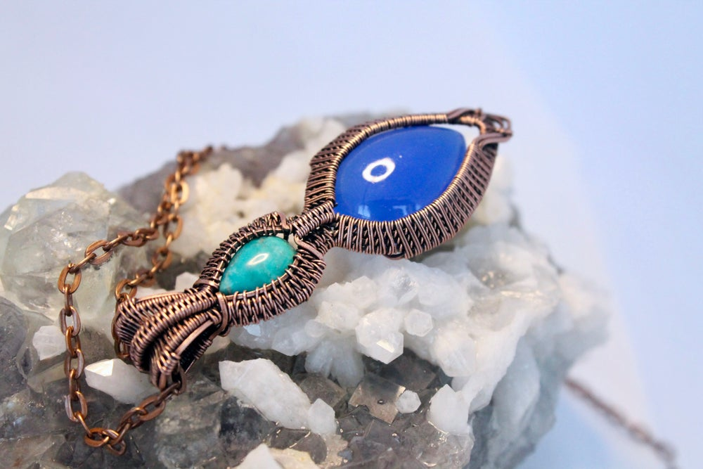 """Image of """"Marlanne"""" Blue Chalcedonny & Turquoise Wire Wrapped Pendant"""