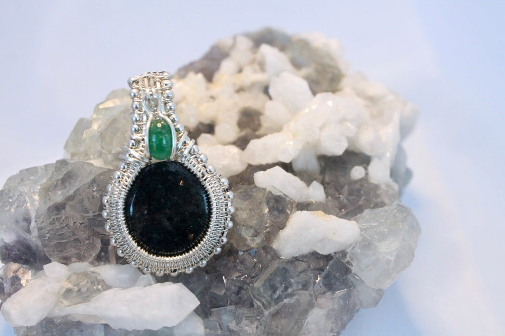 """Image of """"Serenity"""" Nuummite & Aventurine SS Wire Wrapped Pendant"""