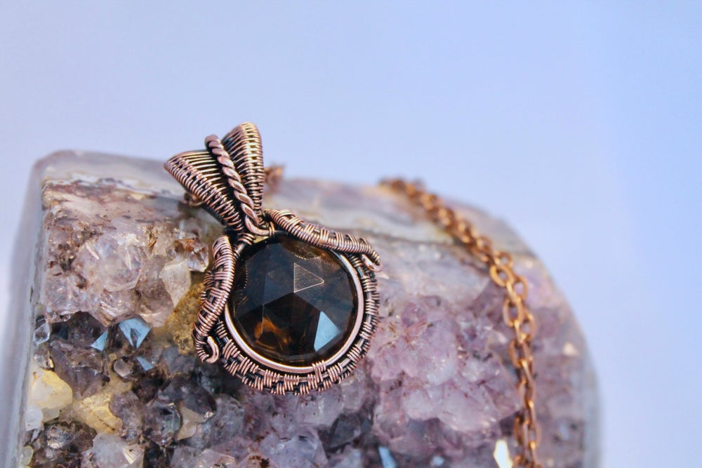 "Image of ""Oskar"" Round Facetted Smokey Quartz Wire Wrapped Pendant"