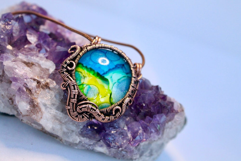 "Image of ""Laramieh"" Hand Painted Ink Cabochon Wire Wrapped Pendant"