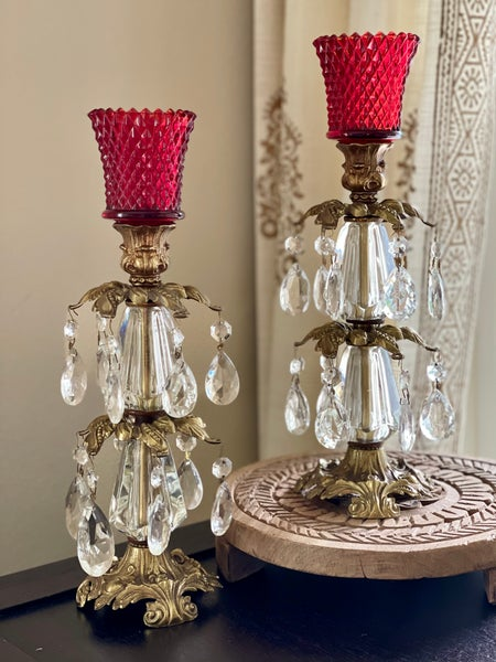 Image of A pair of Vintage ruby red two tiered brass crystal and lucite Candlestand