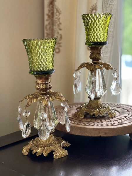 Image of Pair of Emerald vintage Brass metal and lucite Candlestands with clear diamond cut votives.