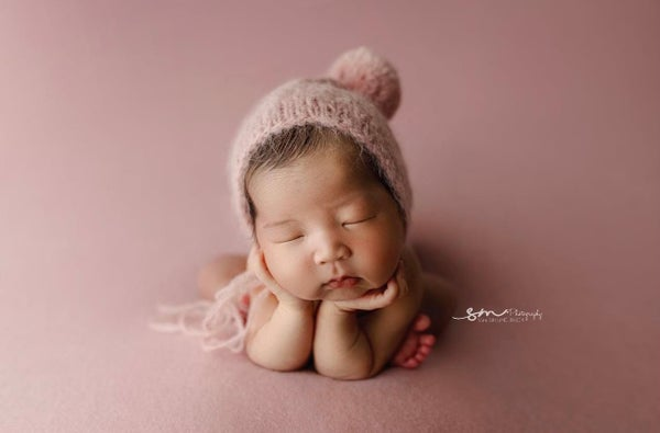 Image of Dusty Pink Brushed Alpaca Bonnet + Wrap option