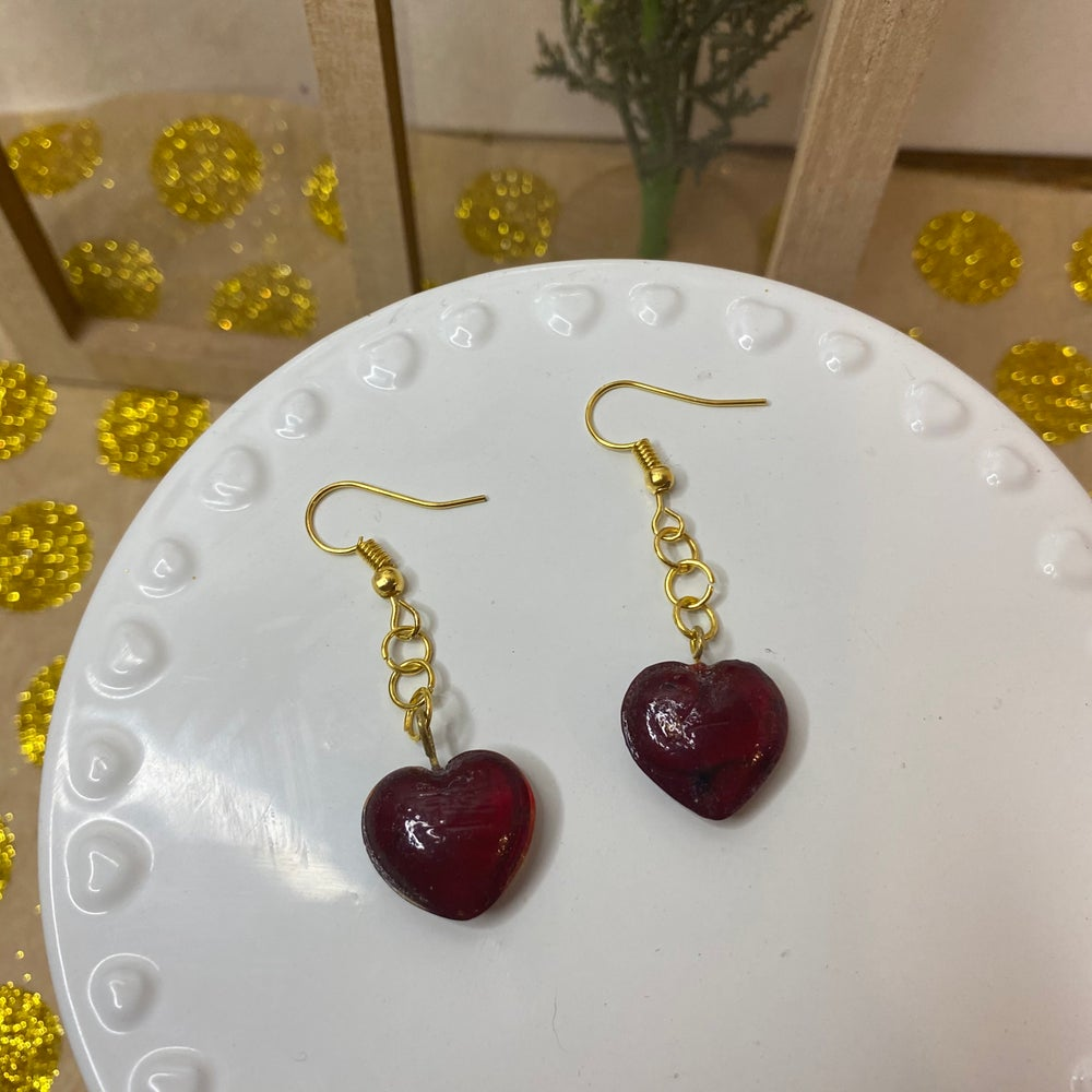 Image of Glass Heart Earrings