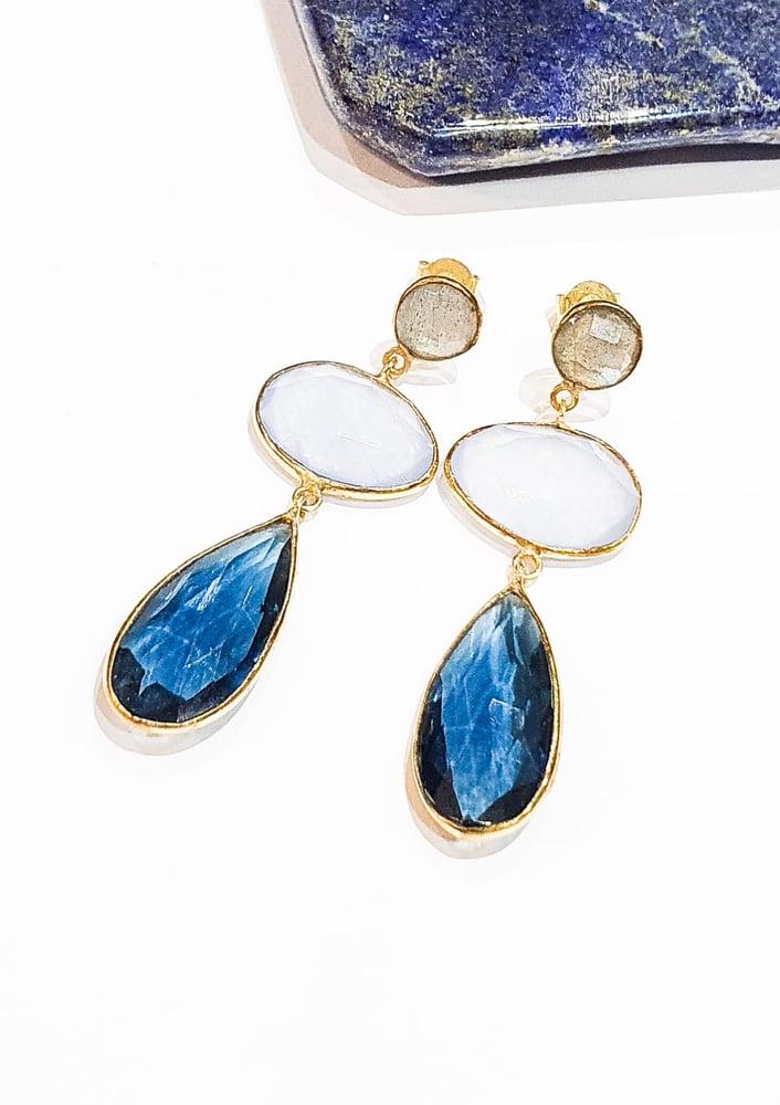 Image of Iolite, Labradorite and Blue Quartz Earrings