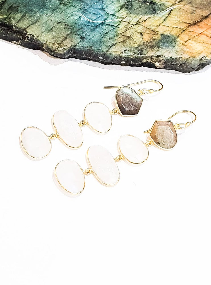 Image of Moonstone and Labradorite Dangly Earrings