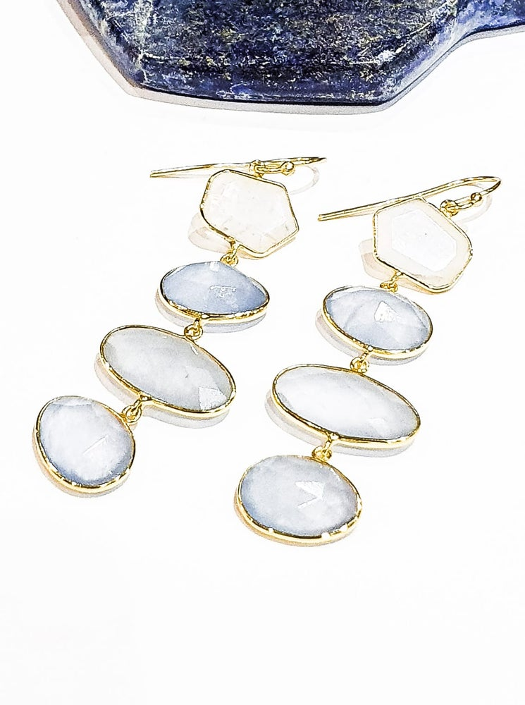 Image of Blue Quartz and Moonstone Dangly Earrings