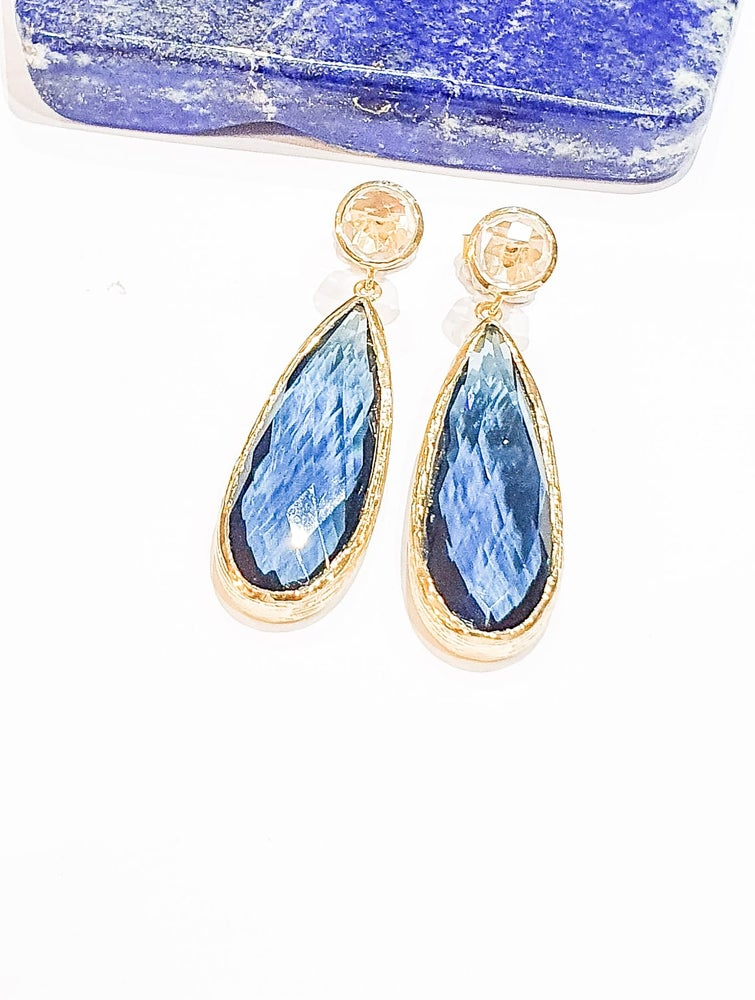 Image of Statement Iolite and Clear Quartz Earrings