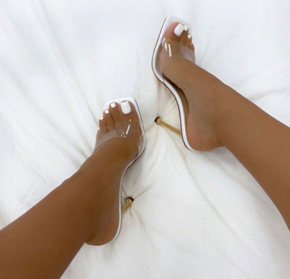 "Image of ""Dainty"" Clear Slide Heel"