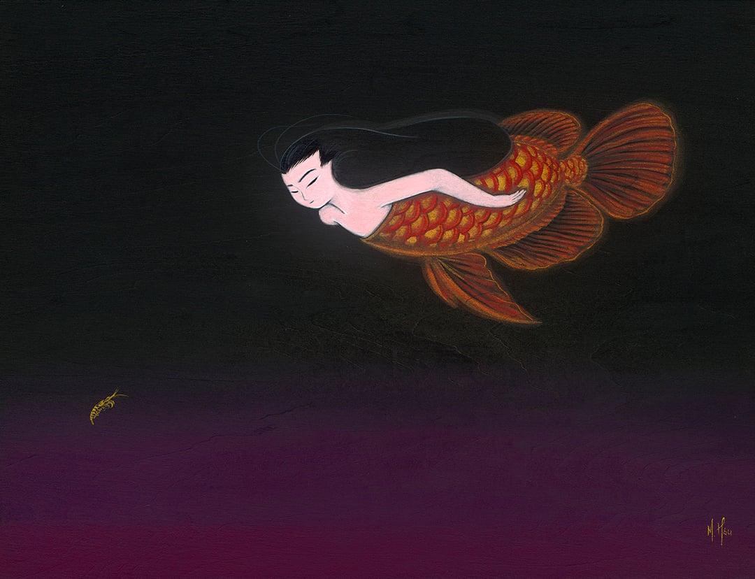 Red Dragon- Arowana Mermaid Original Painting